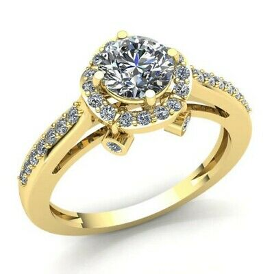 AU1497.46 • Buy Natural 0.75ct Round Cut Diamond Ladies Halo Solitaire Engagement Ring 18K Gold
