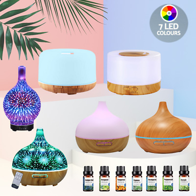 AU33.95 • Buy Aroma Diffuser + Essential Oils Ultrasonic Aromatherapy Air Humidifier Purifier