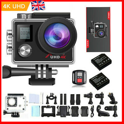 Action Camera 4K Ultra HD Wifi Sports Cam Underwater 30M Camcoder Remote Control • 35.90£