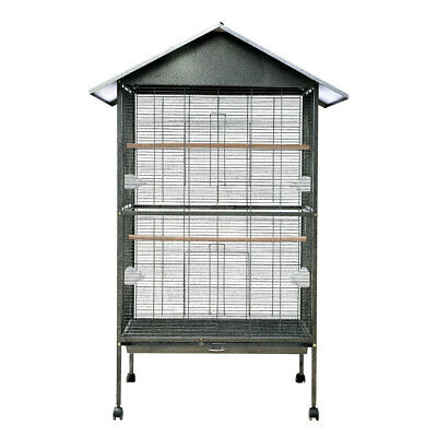 Large Metal Roof Top Rolling Bird Cage Canary Parrot Cockatiel 2 Perches House • 134.95£