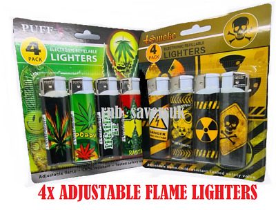 £1.99 • Buy 4x LIGHTERS ELECTRONIC REFILLABLE ADJUSTABLE FLAME CHILD RESISITANT SAFTY VALVE