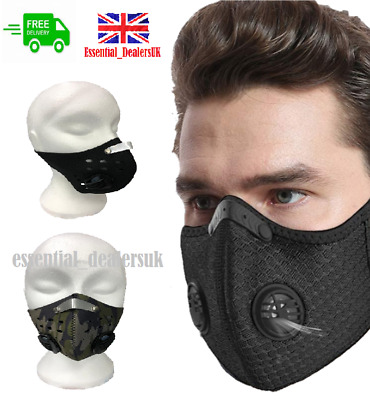 £5.49 • Buy Reusable Washable Anti Pollution Face Mask PM2.5 Two Air Vent With Filter UK