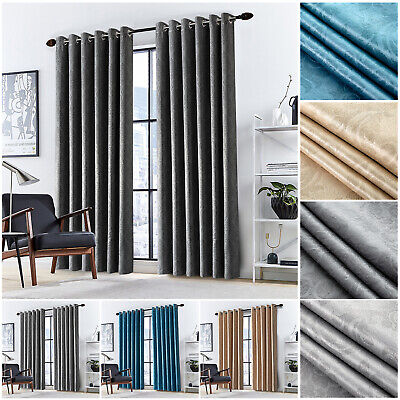 Thermal Blackout Curtains Ready Made Eyelet Ring Top Bedroom Curtain Pair & Ties • 18.99£