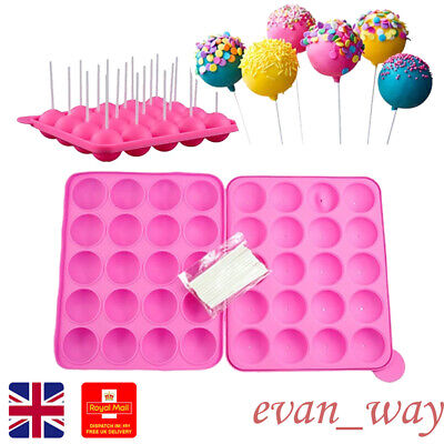 £10.89 • Buy Silicone Lolly Cake Pop Cookie Chocolate Mould Baking Tray With 120 Sticks EW