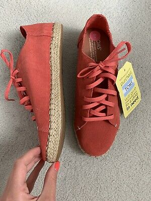 New TOMS Pink Espadrille Lace Up Hibiscus Suede Shoes- Size 5 (Slight Defect) • 14£