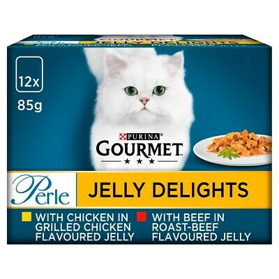 Gourmet Perle Jelly Delights Beef & Chicken Wet Cat Food Pouches - 12 X 85g • 7.43£