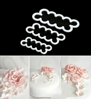 3pcs Cake Rose Petal Flower Cutter Fondant Sugarcraft Icing Tools Decorate Mould • 3.50£