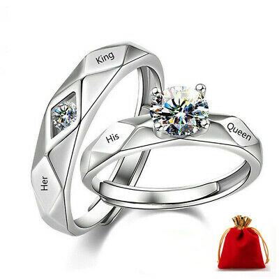 £5.99 • Buy King Queen Valentines Gift 925 Sterling Silver Rings Couple Adjustable Size