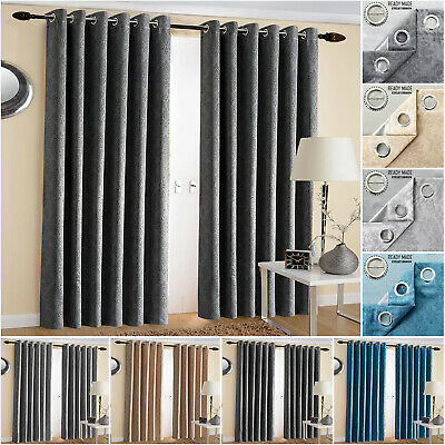 Extra Wide Ring Top Blackout Curtains Ready Made Bedroom Curtain With Tiebacks • 19.99£