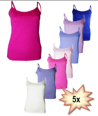 £9.99 • Buy 5 X Pack Ladies Womens Strappy Stretch Cotton Blend Cami Vest Tops  Size 8 - 18