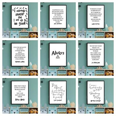 A4 HARRY POTTER PRINTS. Wall Art Poster Picture Hogwarts Kids Movie Film Quotes • 4.50£