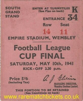 £1.50 • Buy Reproduction 1941 PRESTON NORTH END ARSENAL Football League Cup Final Ticket RMT