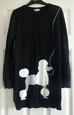 WORN ONCE Girls Blue Zoo (Debenhams) Long Black Poodle Jumper Dress Age 13/14yrs • 8.49£
