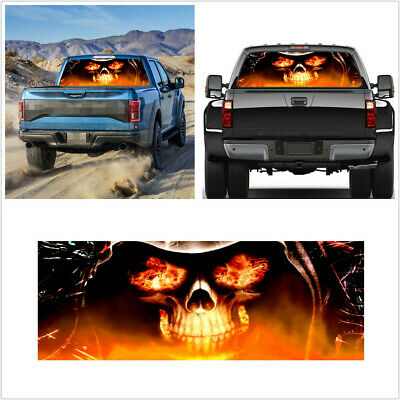 $19.70 • Buy 135x36cm Flaming Skull Graphic Sticker Fit For Car SUV Pickup Rear Window Decor