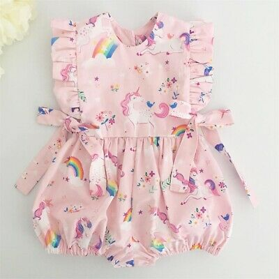 Newborn Baby Girl Clothes Cute Unicorn Romper Jumpsuit Playsuit Summer Outfits • 6.99£