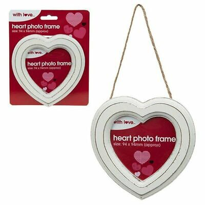 New Rustic White Hanging Heart 13.5cm Picture Frame Valentines Love Wedding Gift • 2.95£