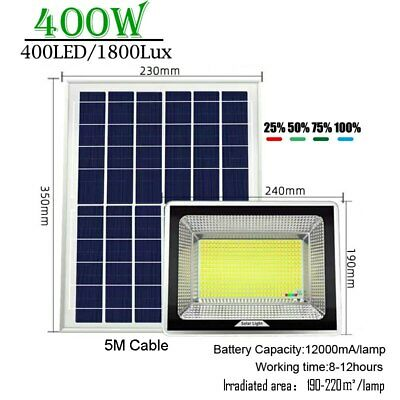 £99.26 • Buy 400w LED White Solar Spot Light Solar Panel Lamp Remote Control Outdoor Lamps