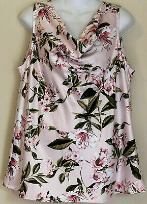 $ CDN29.17 • Buy White House Black Market Sleeveless Cowl Neck Floral Pink Silky Blouse Size L