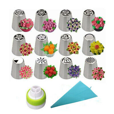 14PCS/Set Russian Stainless Pastry Tips Fondant Cake Decor Icing Piping Nozzles • 8.79£