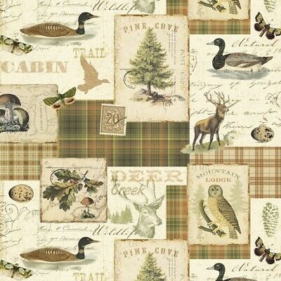 North Memories Fabric - Cabin Duck Lodge Patch Brown - David Textiles YARD • 7.85£