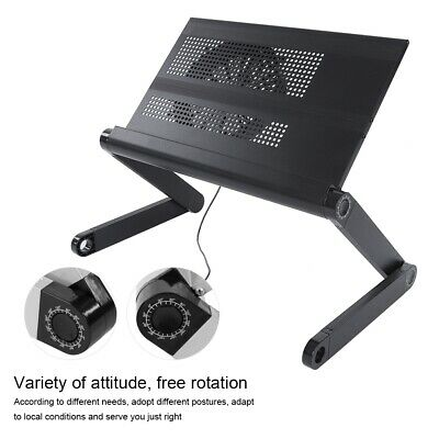 Folding Laptop Table Desk Computer Tray Stand Bracket Radiator With Cooling Fan • 19.74£