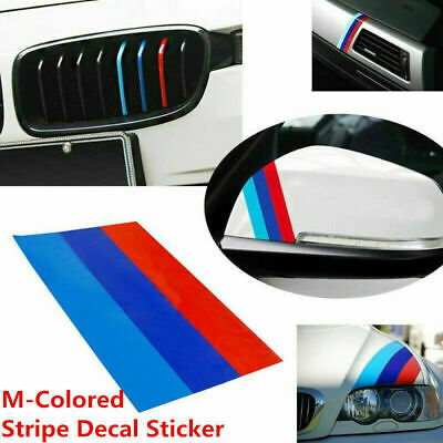 $4.99 • Buy 1Pcs M-Colored Power Flag Stripe Sticker Decal Auto Car Hood Roof 10in For BMW