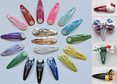 £1.49 • Buy 50mm Glue On Metal Painted Colour Blank DIY Hair Snaps Clips With Pad Craft Bow