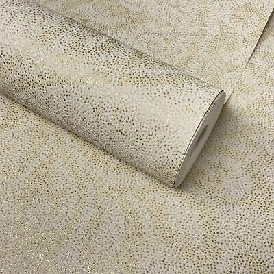 Paste The Wall - Ivory, Cream & Gold Glitter Textured Damask Wallpaper - DL22838 • 7.99£