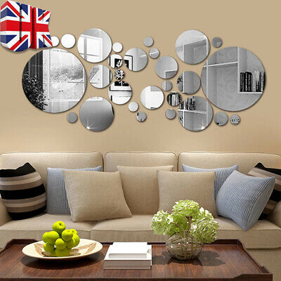 32pcs 3d Mirror Round Removable Self Adhesive Wall Sticker Office Home Decor Uk • 4.29£