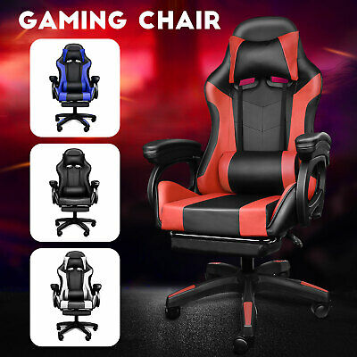 AU131.24 • Buy Gaming Chair With Footrest Cushion Massage Racing Chairs Office Computer Leather
