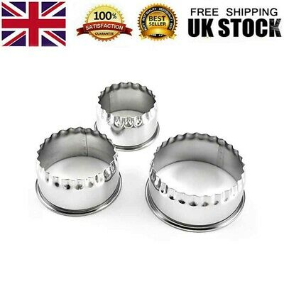 £4.77 • Buy UK Set Of 3 Stainless-Steel Plain Crinkle Scone Pastry Quiche Tart Cookie Cutter
