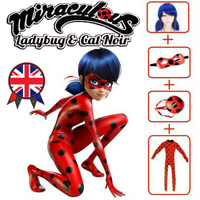 Kids Girls Miraculous Ladybug Costume Cosplay Jumpsuit Outfits Tight With Wig UK • 19.99£