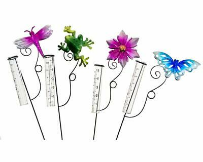 Metal Ground Stake Spike Garden Outdoor Ornament Decoration With Rain Gauge • 5.49£