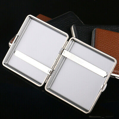 Cigarette Case Stainless Steel Box Leather Holder Cases Tobacco Double-Sided SA7 • 5.42£