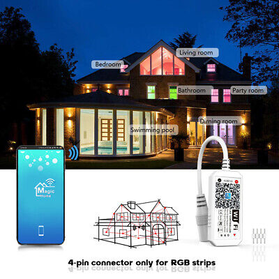 AU13.79 • Buy Smart WiFi Remote Controller For RGB LED Strip Light Android IOS Google Alexa