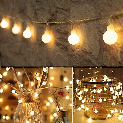 100LED 10M Globe Bulb Fairy String Lights Mains Plug-in Outdoor Indoor Party UK • 12.71£