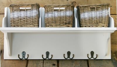 Wicker Storage Unit With 3 Baskets And Coat Hook Hangers • 29.95£