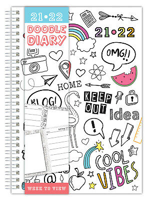 £3.45 • Buy A5 2021-22 Academic Diary Week To View Wiro Doodle Sketch Book Journal To Colour