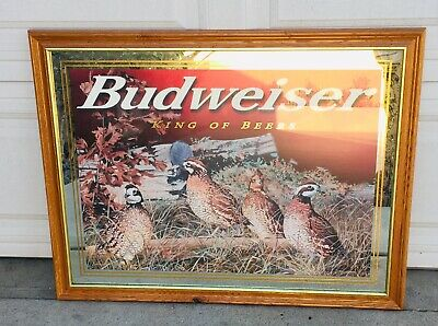 """$ CDN219.06 • Buy Rare Collectible Budweiser King Of Beers Quail Mirror Framed Picture 35"""" X 27"""""""