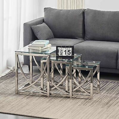 High Gloss Set Of 2 Coffee Nest Tables Side End Table Norsk With Chrome Legs UK • 115.99£