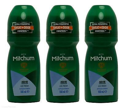 3 X Mitchum For Men Ice Fresh Roll On 100ml FREE POSTAGE • 9.99£