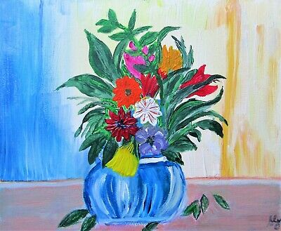 """£55 • Buy 🌺Modern Contemporary Painting  Still-life Vase Of Flowers"""" Mother's Day Gift 🌺"""