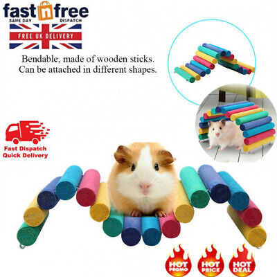 £5.85 • Buy Colorful Wooden Bridge Pet Hamster Guinea Pig Rat Ladder House Playing Toys Gift