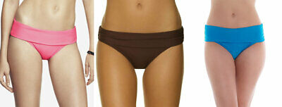 Saress Bikini Briefs High Waisted X3 XL 16 Blue Pink Brown Fold Top Bottom New • 12.89£