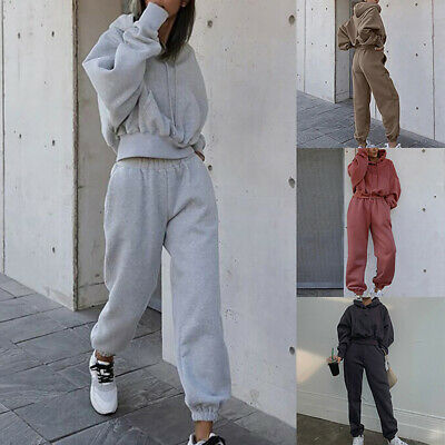 £16.35 • Buy Women Ladies Fashion Tracksuit Hooded Top With Pocket Loose Sweatpants Suit Set