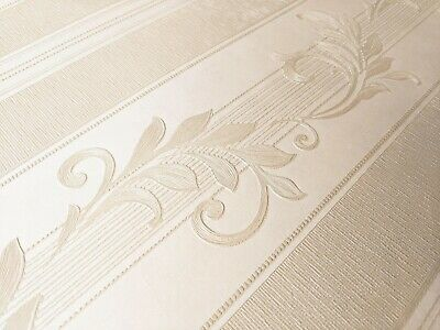 High Quality Ivory Damask Cream Beige Stripe Traditional Wallpaper 3d Embossed • 8.97£