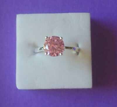 Ladies 925 Silver Size 9 R S Cubic Zirconia Pink Crystal Stud Ring • 5.99£