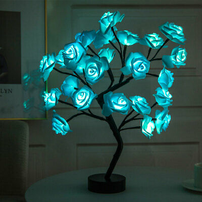 LED Rose Tree Bouquet Table Lamp Bedside Night Light Valentine's Day Home Decor • 16.19£