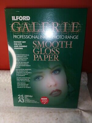 Ilford Galerie Smooth Gloss Paper -A3 Plus 25 Sheet Inkjet Photo Range • 18.25£