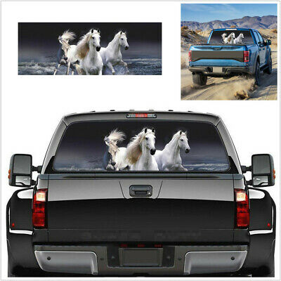 $19.70 • Buy 135x36cm White Horse Tint Graphic Sticker Fit For Car SUV Rear Windshield Decor